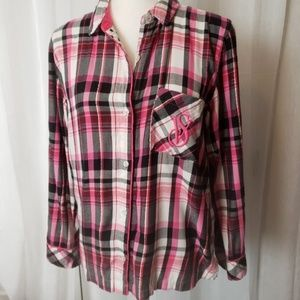 Victoria's Secret Pink Plaid Sleep Shirt Size SP